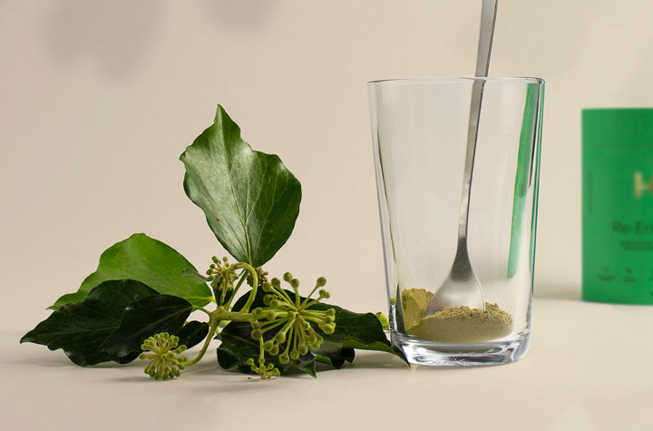 Supplement on glass with greenery