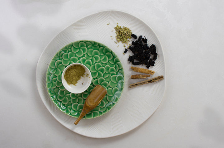 Supplement re-energise on plate with wooden spoon