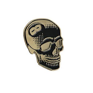 Creamlab Tizieu 8 Ball Skull Black and Gold Enamel Pin