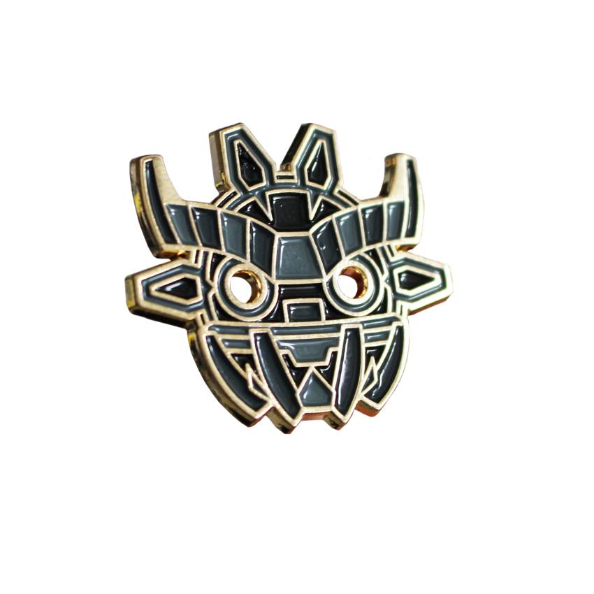 Creamlab Angry Hedgehog Ancient Boo Mask Black Enamel Pin
