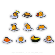 Load image into Gallery viewer, Kidrobot x Sanrio Gudetama Eggstra Lazy Enamel Pins Case