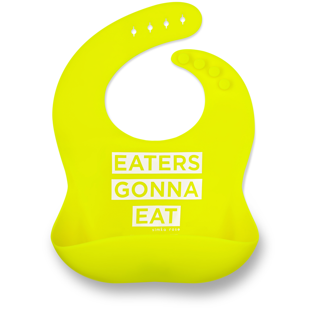 simka rose eaters gonna eat lime green silicone baby toddler bib
