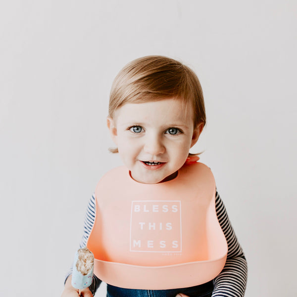 BLESS THIS MESS Bib - Peach