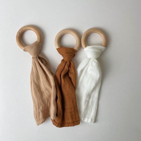 Beechwood Ring Teether with Muslin Tie - 3 pack - Sienna, Clay, Natural