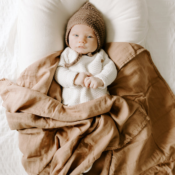 Bamboo Muslin Swaddle Blanket - Clay