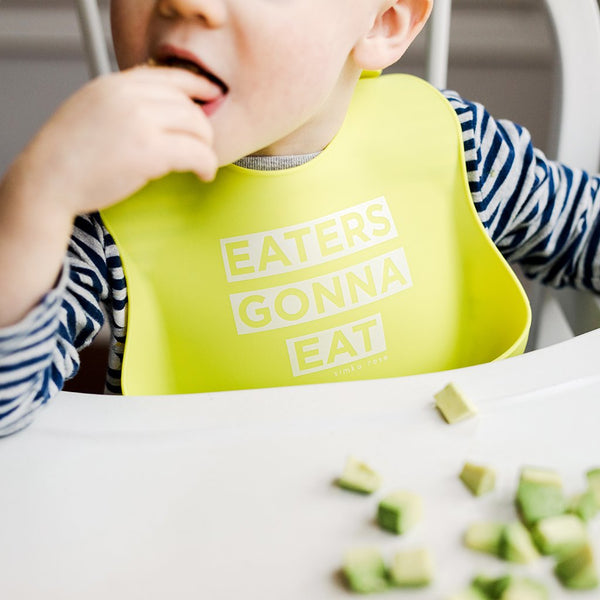 Simka Rose silicone baby bib Eaters Gonna Eat Mint Green