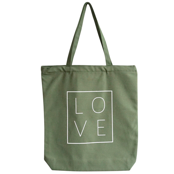 Canvas Zipper Tote Bag - LOVE