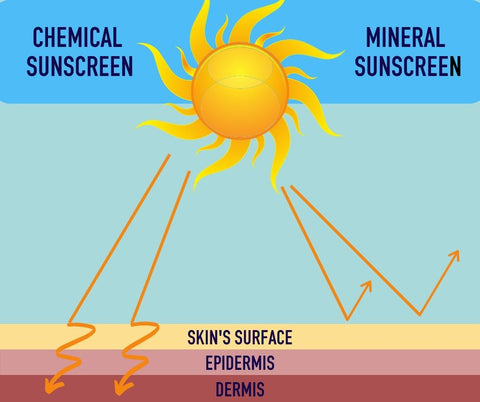 chemical vs mineral sunscreen - how they work