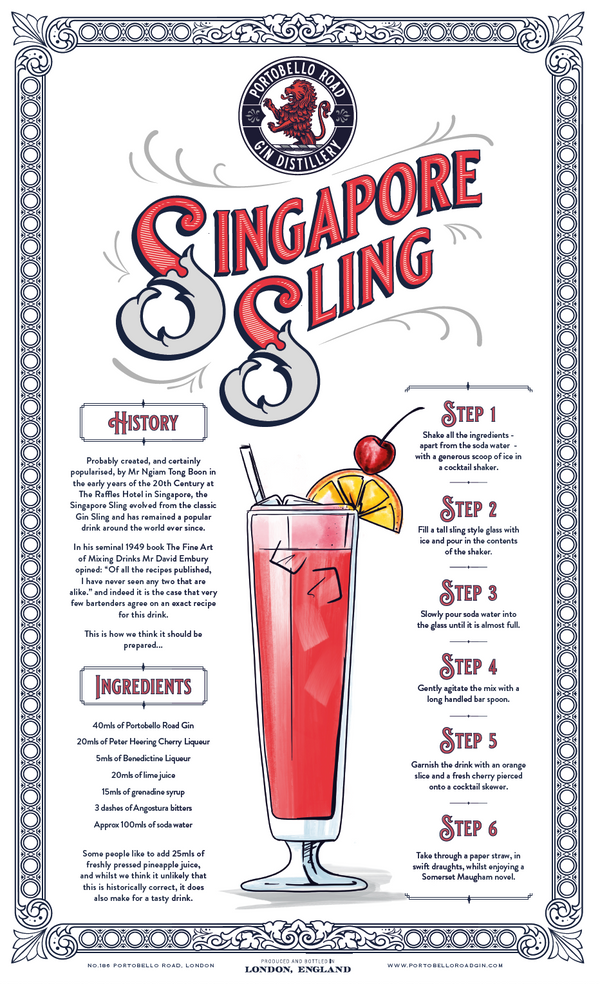 Portobello Road Merch - Singapore Sling Tea Towel - The Distillery London