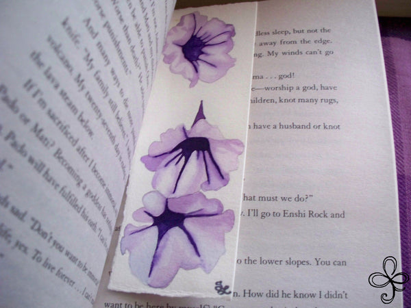 Purple Morning Glory Bookmark Watercolor Painting Hm3o5