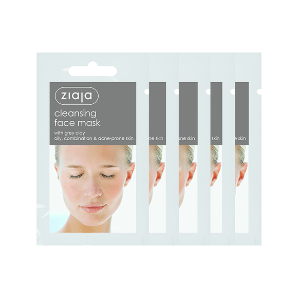 5 X Ziaja Cleansing Face Mask With Grey Clay/Sachet/Diplay 7Ml