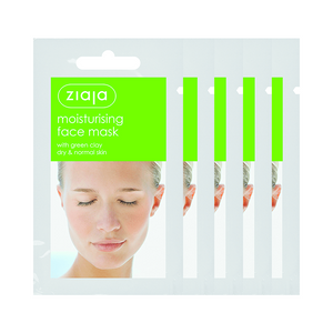 5 X Ziaja Moisturising Face Mask With Green Clay/Sachet/Display 7Ml