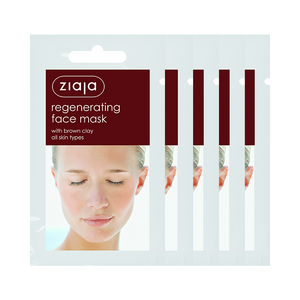5 X Ziaja Regenerating Face Mask With Brown Clay/Sachet/Display 7Ml