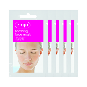5 X ZIAJA SOOTHING FACE MASK WITH PINK CLAY/SACHET/DISPLAY 7ML
