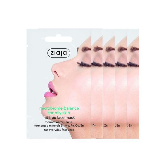 5 x Ziaja Microbiome Face Mask For Oil Skin 7Ml