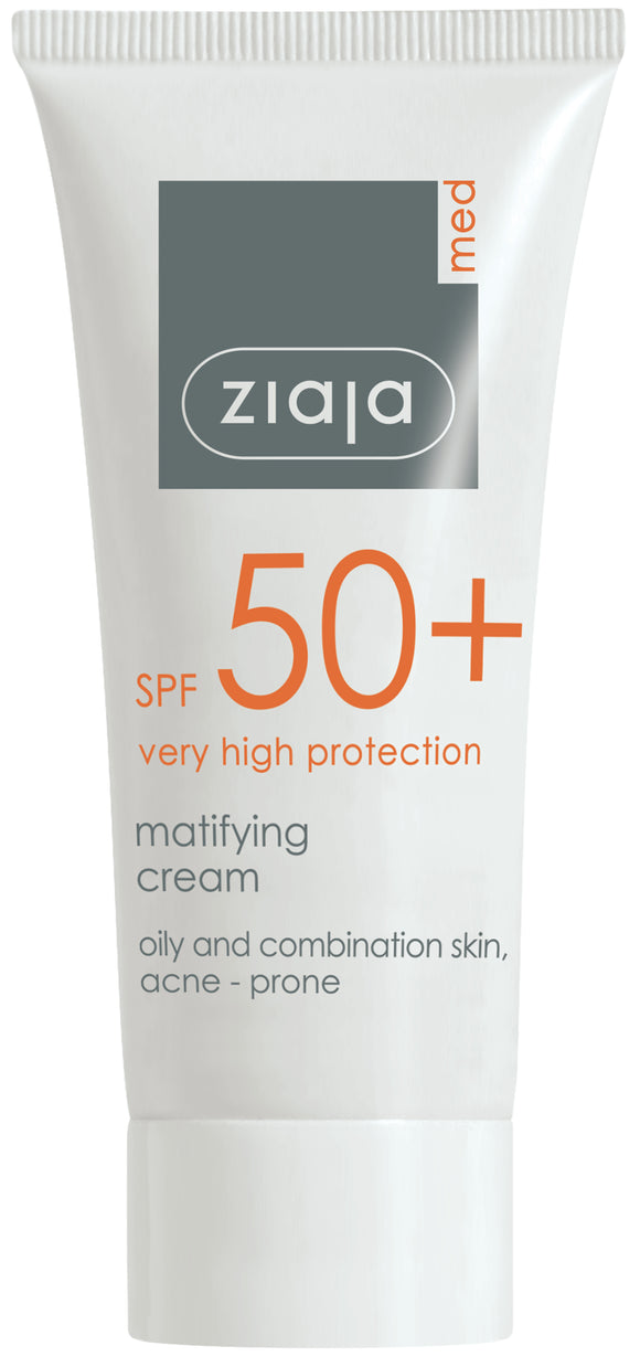 Ziaja Med Spf 50+ Matifying Cream/Oily & Combination Skin, Acne Prone 50Ml