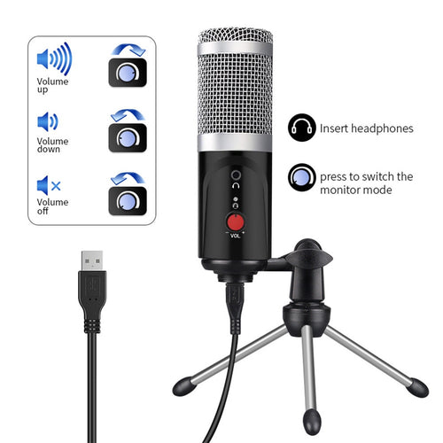 Microphone USB Port Studio For pc Sound Card Professional