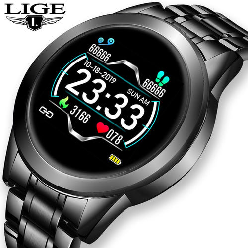 2021 New stainless steel Digital Smart Watch Men Sport