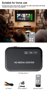 1080P full HD media video player Center For HD VGA AV USB SD/MMC Port Remote Control YPbPr Cable for SD U-Disk USB hard disk