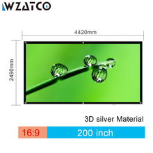 "Load image into Gallery viewer, WZATCO 150""180""200""250""300"" 3D Screen 16:9 Foldable 3D Silver Simple Large Size Cinema Screen Fabric for XGIMI H2 H1 Projector"
