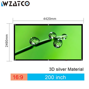 "WZATCO 150""180""200""250""300"" 3D Screen 16:9 Foldable 3D Silver Simple Large Size Cinema Screen Fabric for XGIMI H2 H1 Projector"