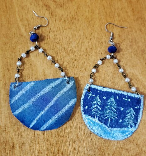 Snowy Pines One Of A Kind Reversible Statement Earrings - (READY TO SHIP)