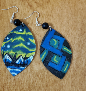 One Of A Kind  Northern Lights Hand Painted Jewelry Set - READY TO SHIP