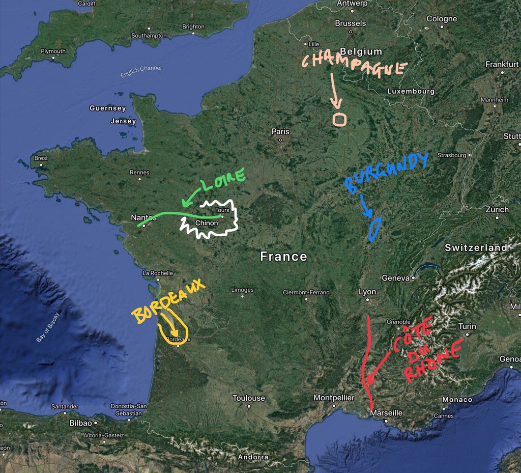 P Johnson Wine Review France Map