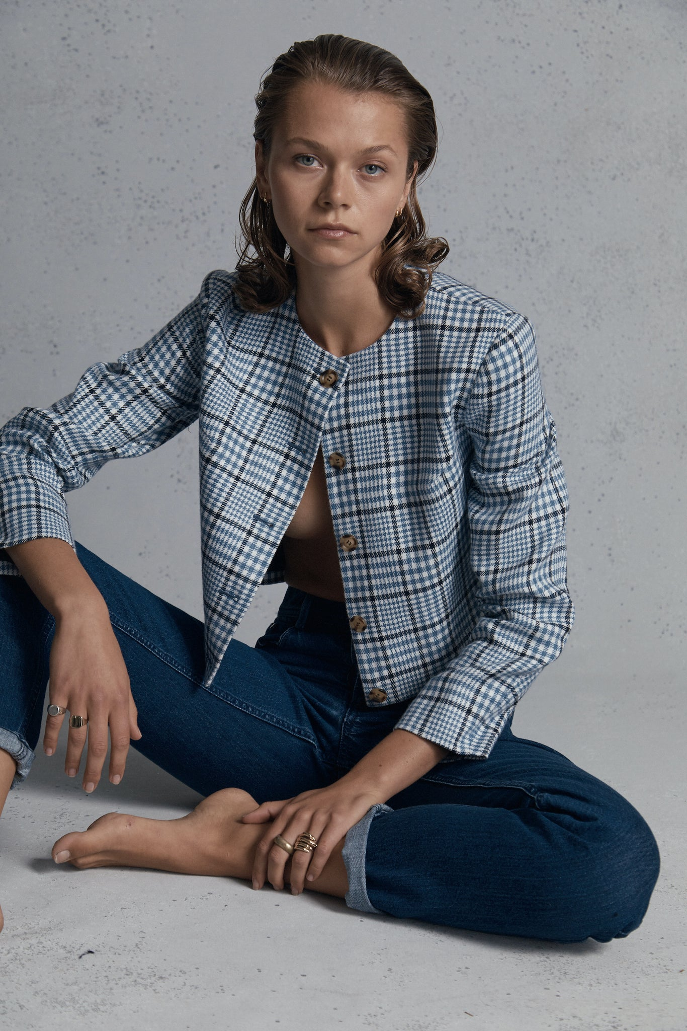 blue check cropped jacket