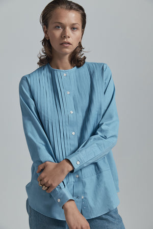 pleated denim shirt