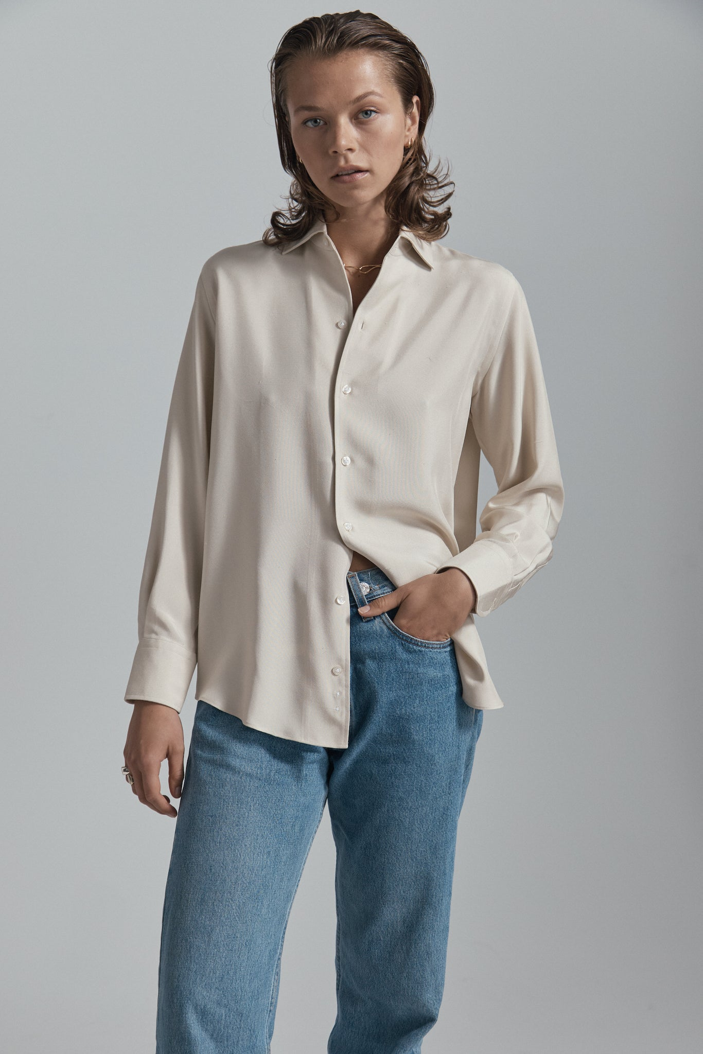 beige silk shirt