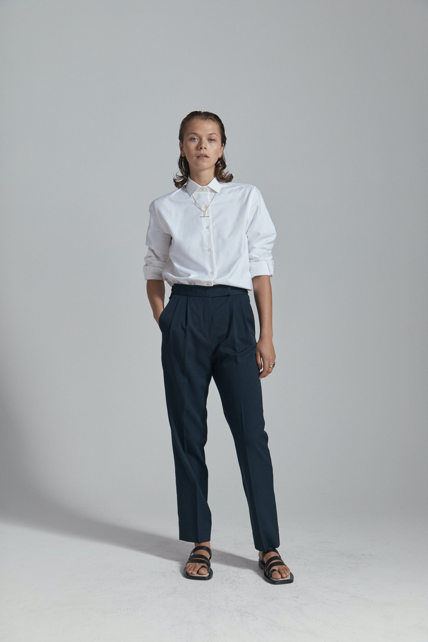 white shirt & navy trouser