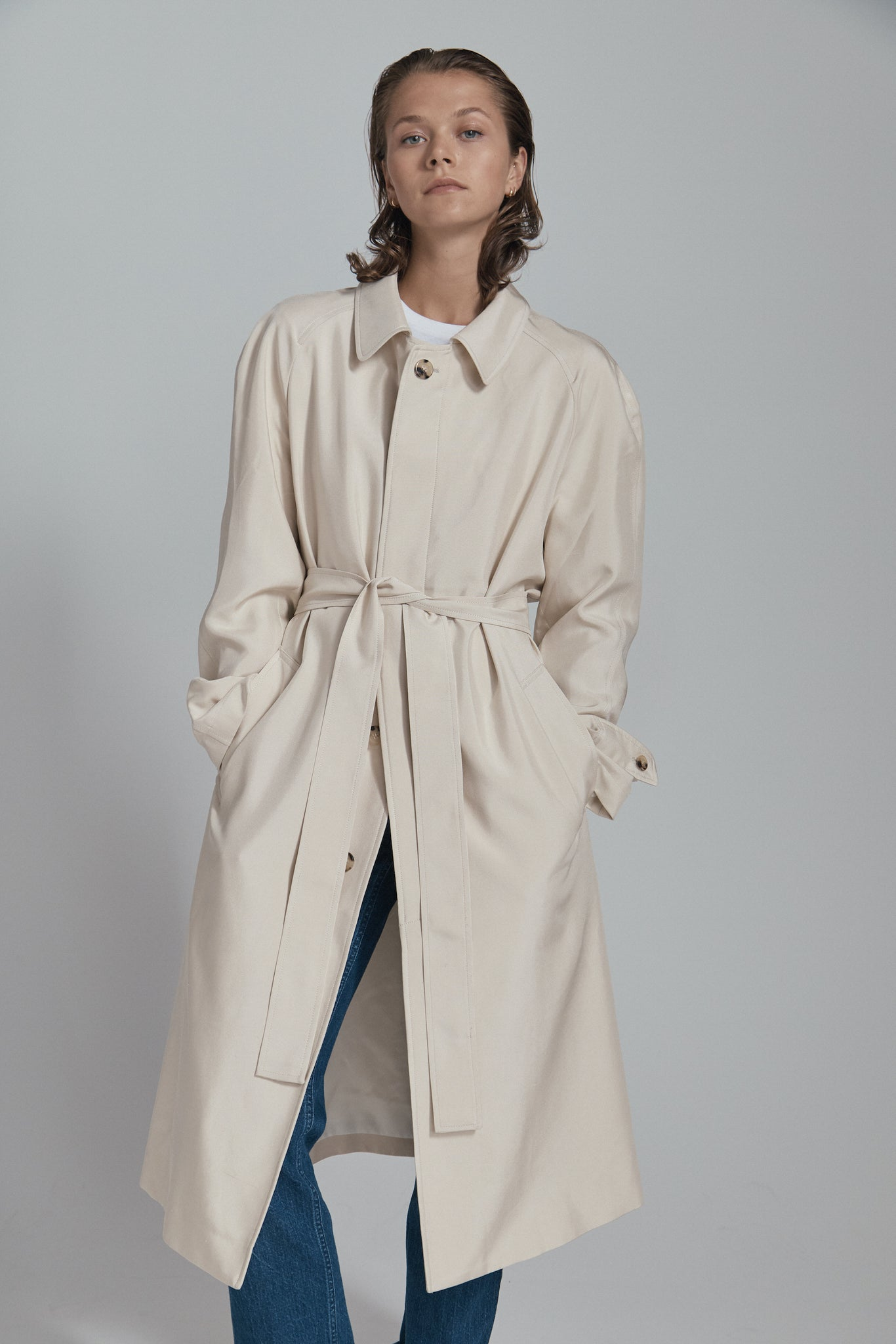 beige silk overcoat