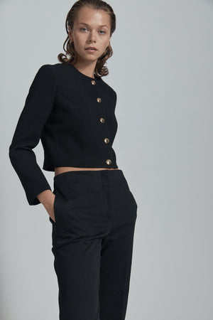 black crepe cropped jacket