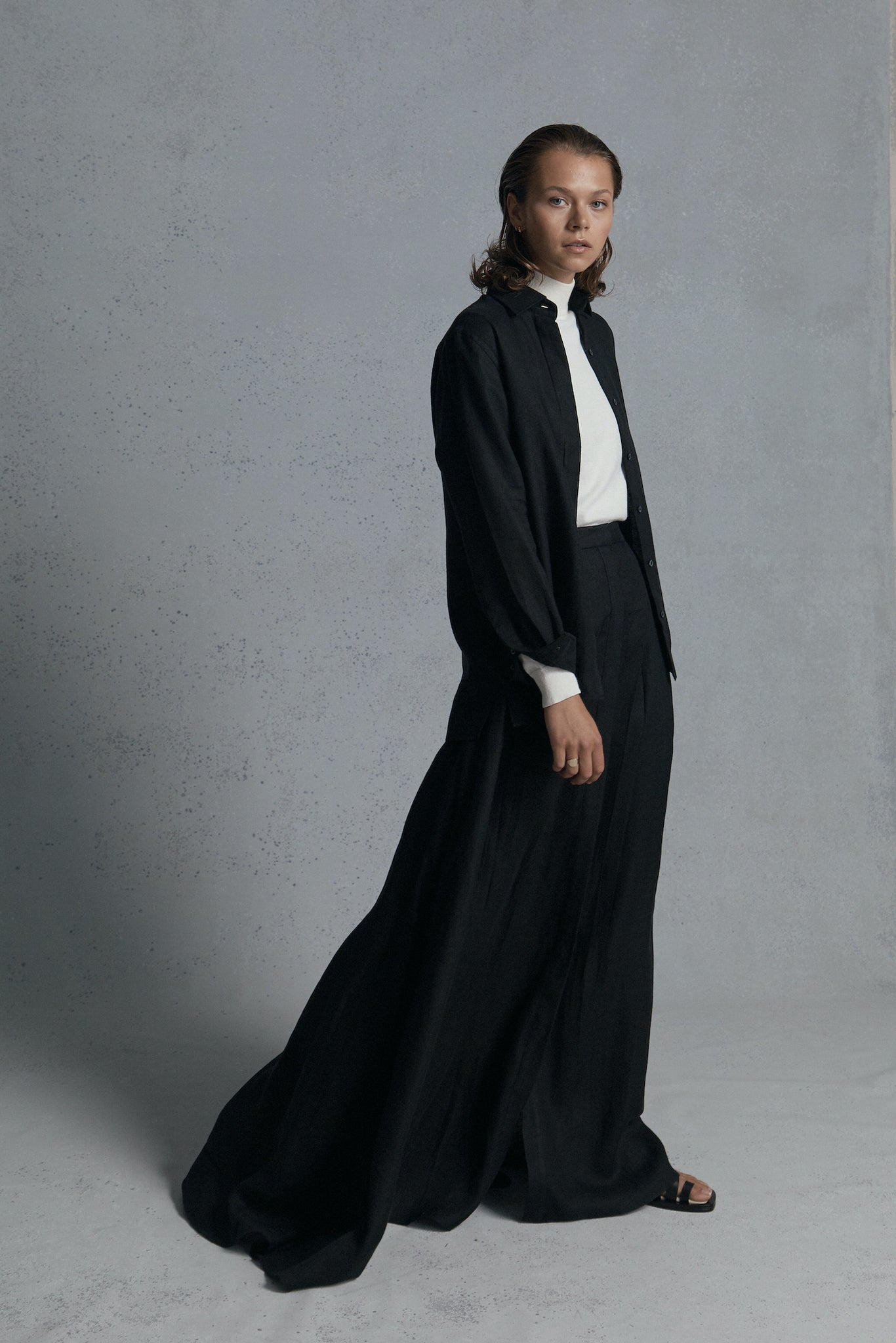 black linen shirt & long skirt