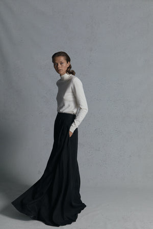 black linen long skirt