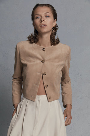 camel suede cropped jacket
