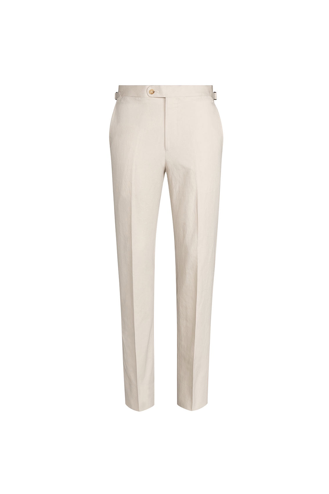 P Johnson Beige Cotton Linen Tailored Trousers