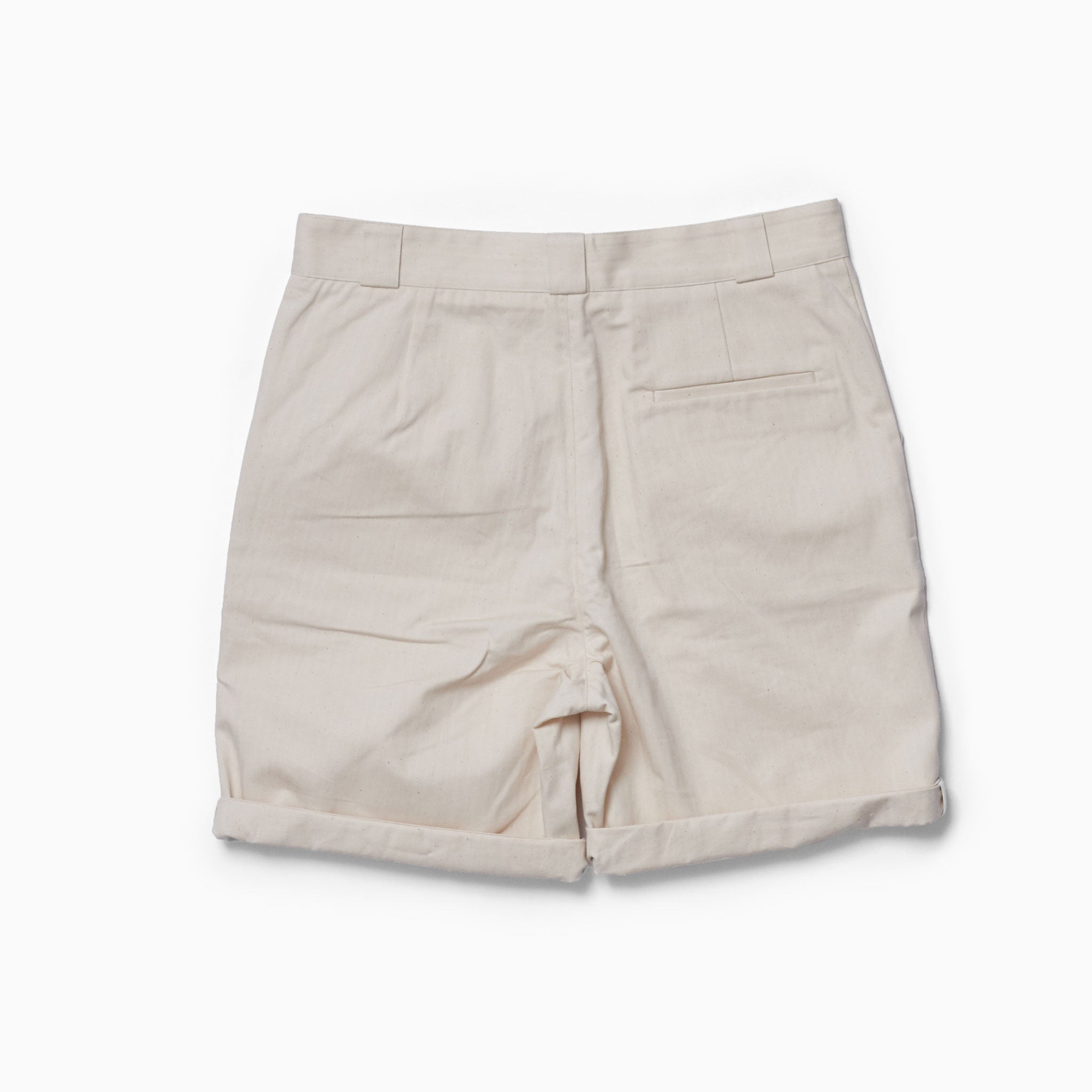 Ecru Herringbone Walking Shorts