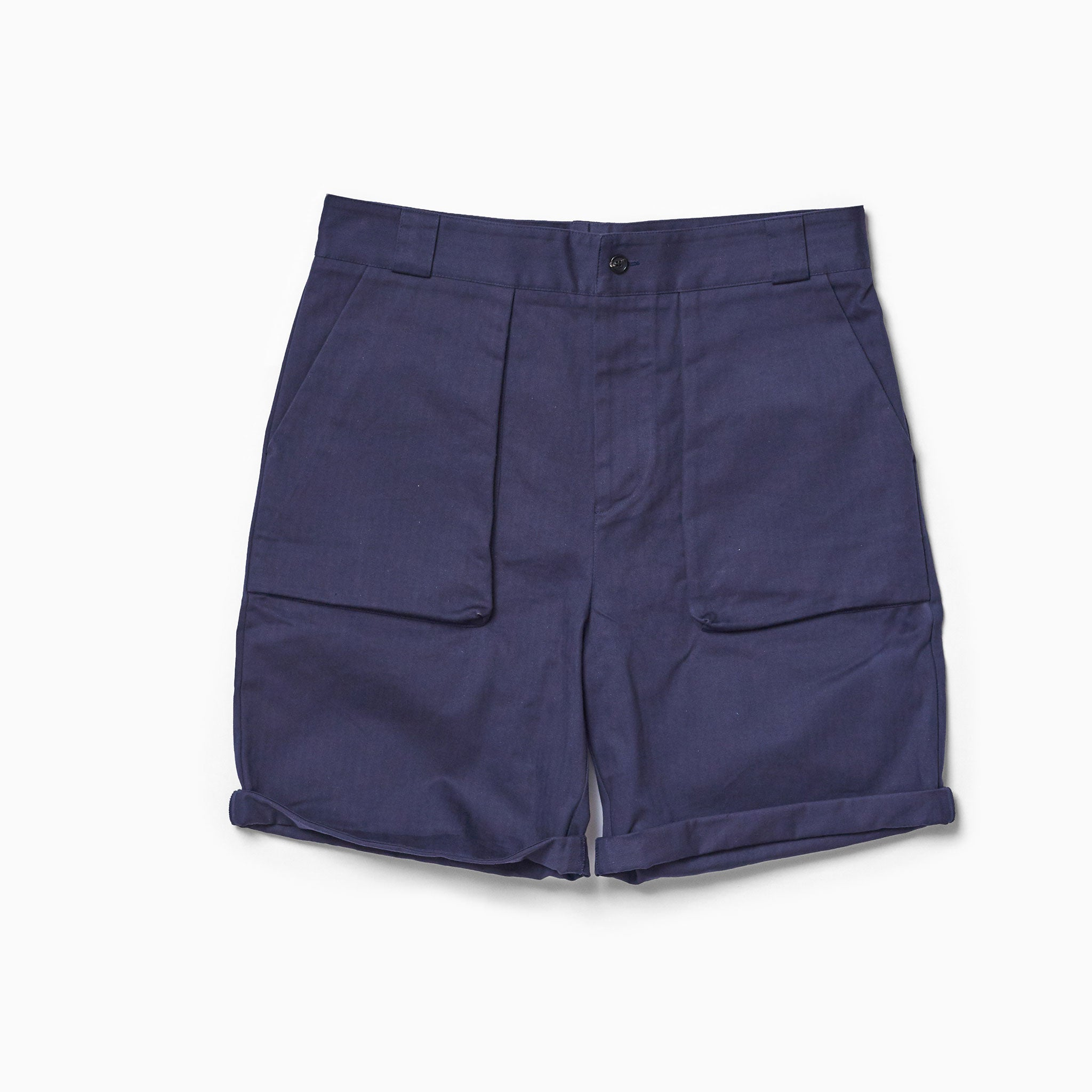 Navy Herringbone Walking Shorts