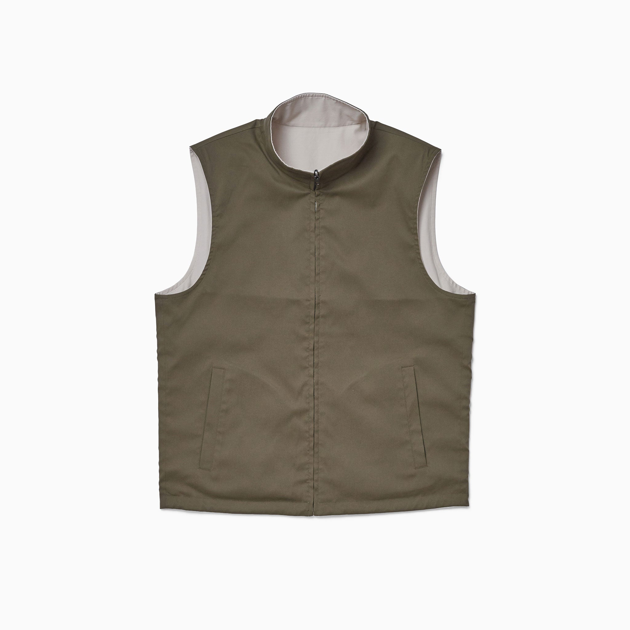 Off White / Khaki Reversible Gilet