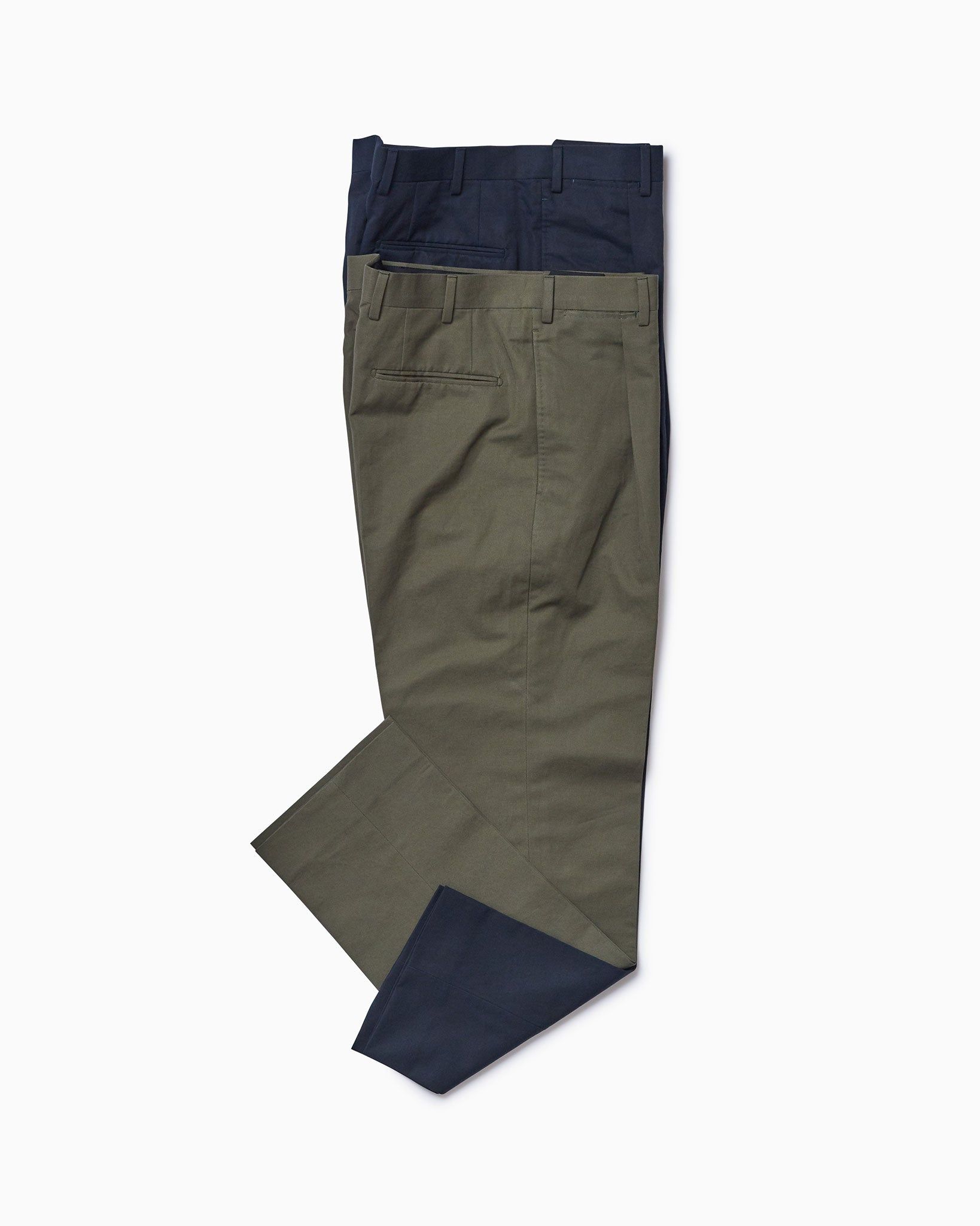 Army Green Cotton Linen Trousers w/ Single Pleat
