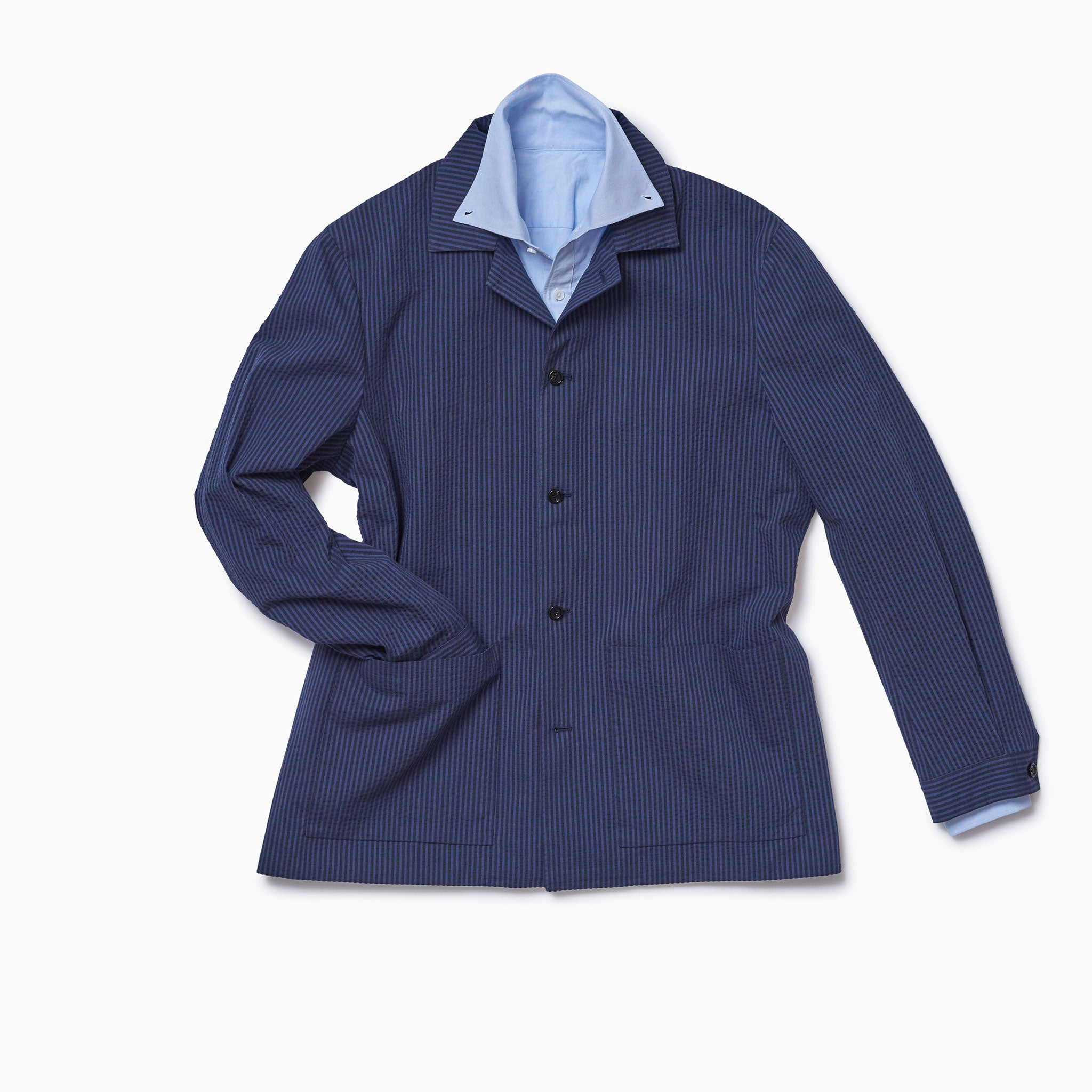 Navy on Navy Seersucker Lined Shirt Jacket