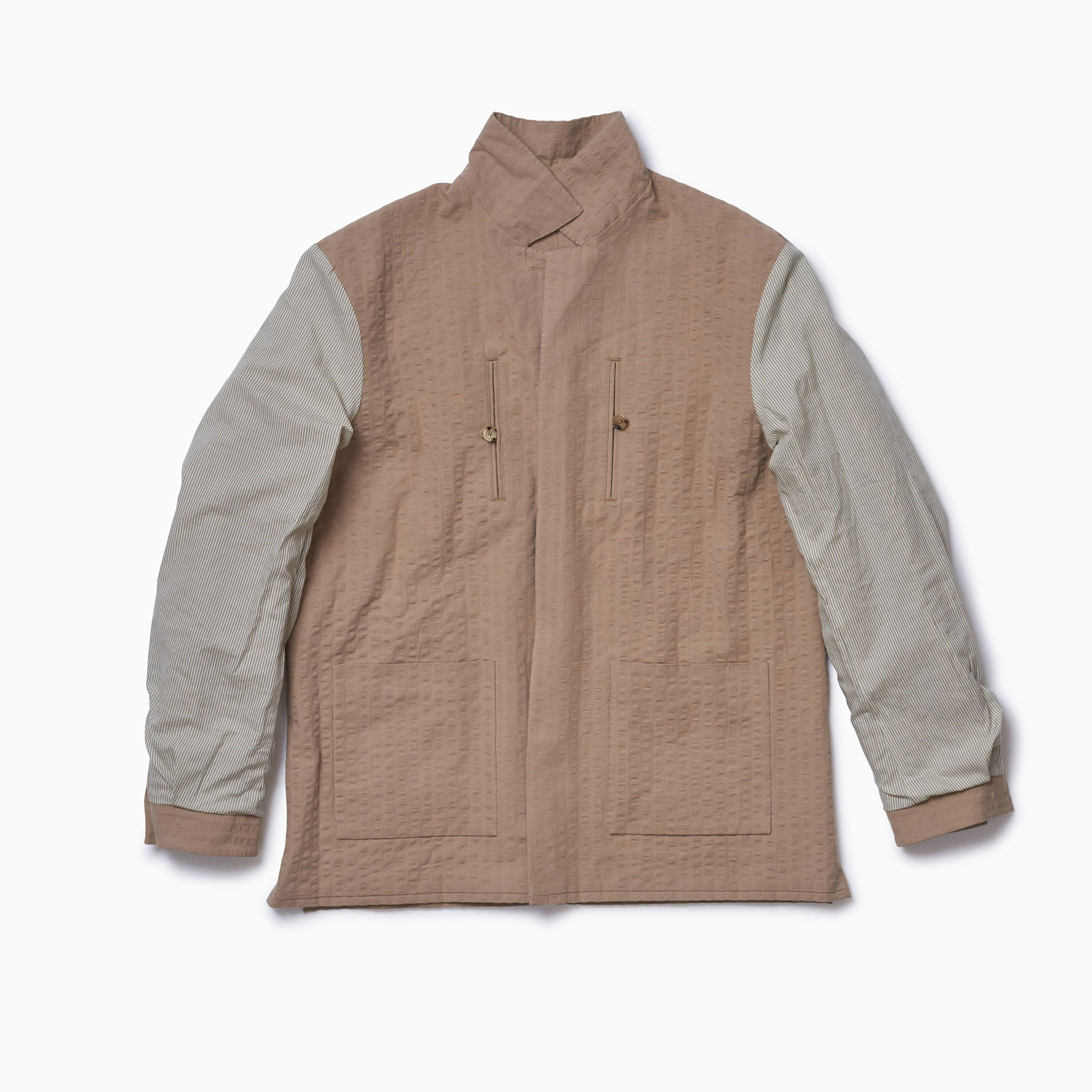 Caramel Seersucker Lined Shirt Jacket