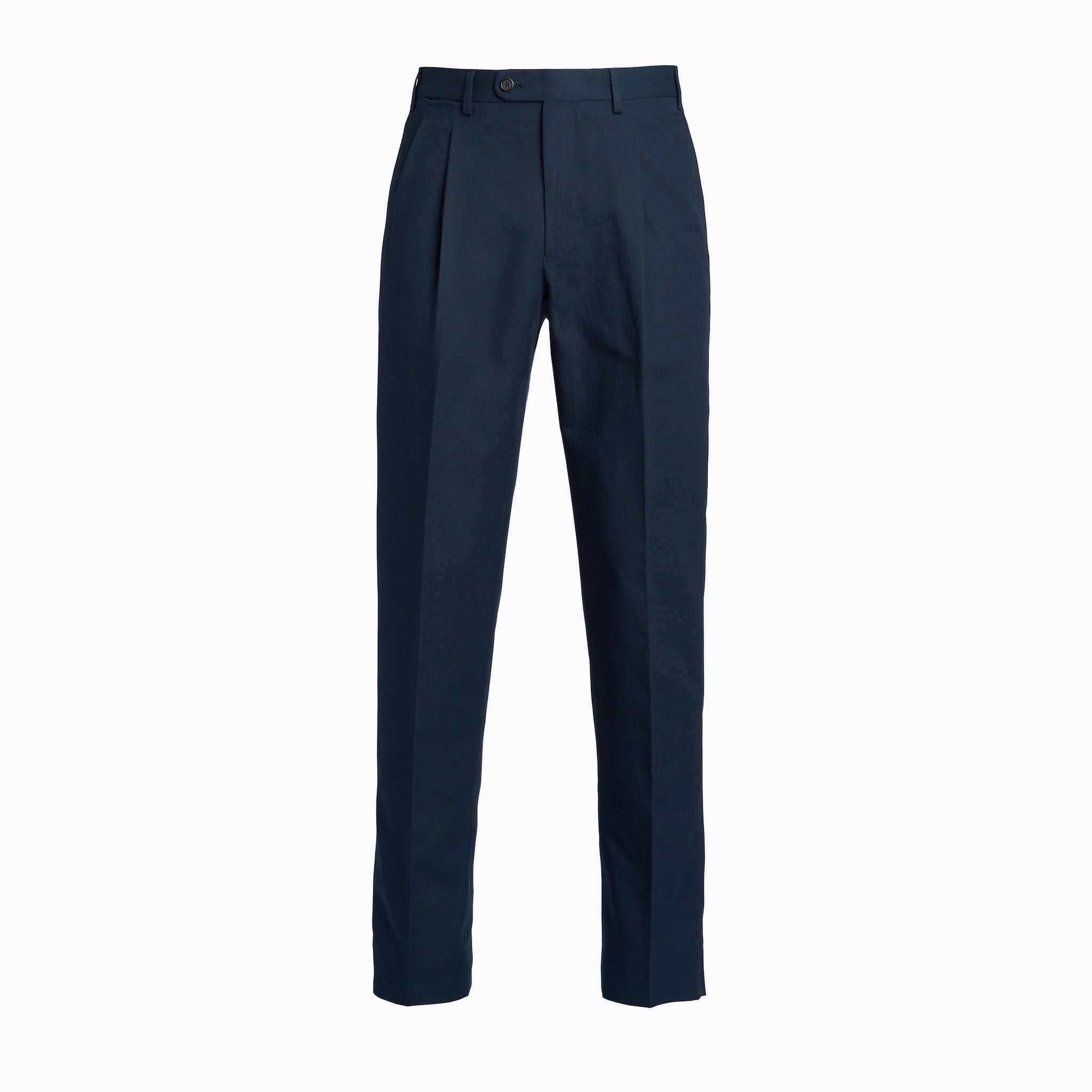 Navy Fine Gabardine Cotton Trousers w/ Double Pleat
