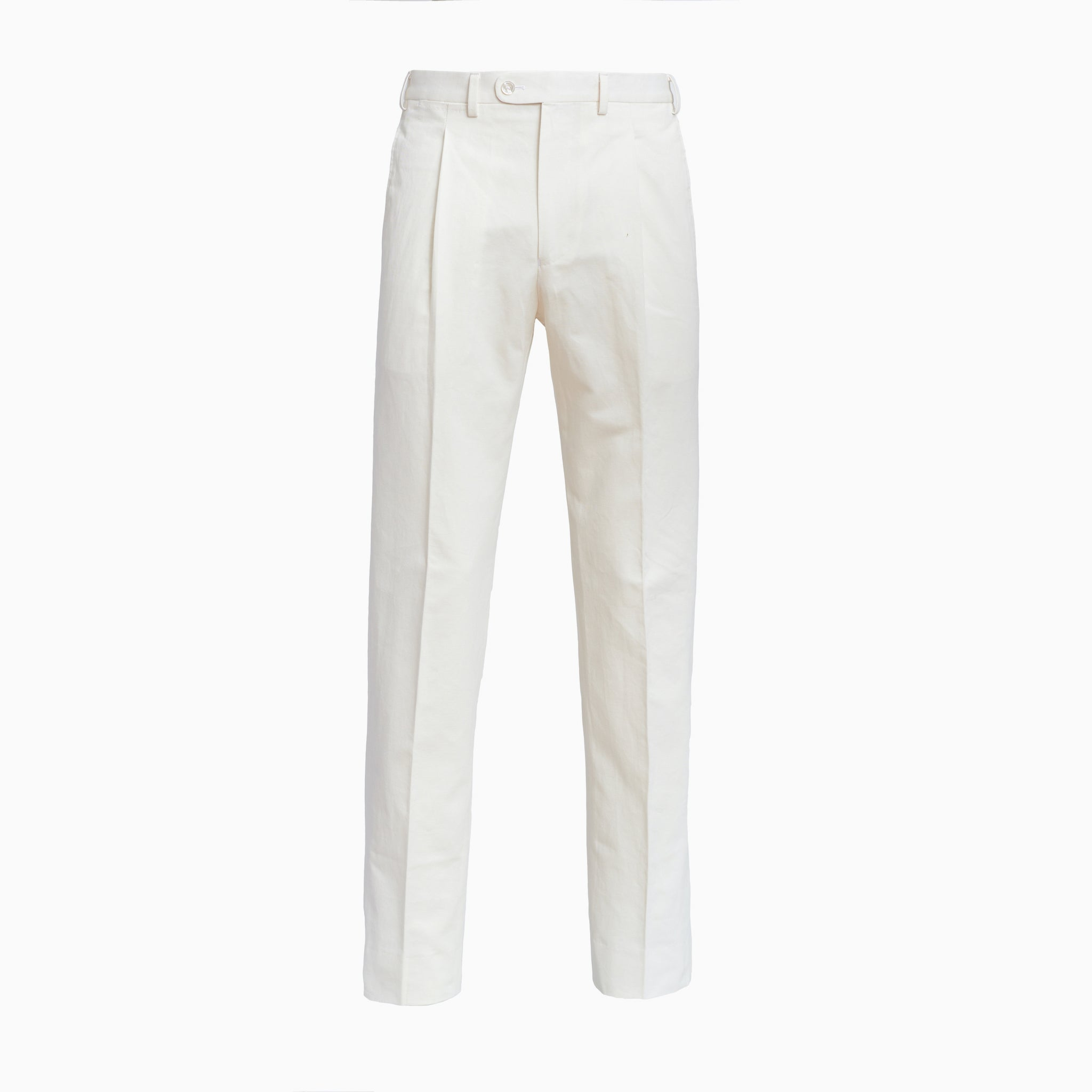 Off White Cotton Linen Trousers w/ Single Pleat