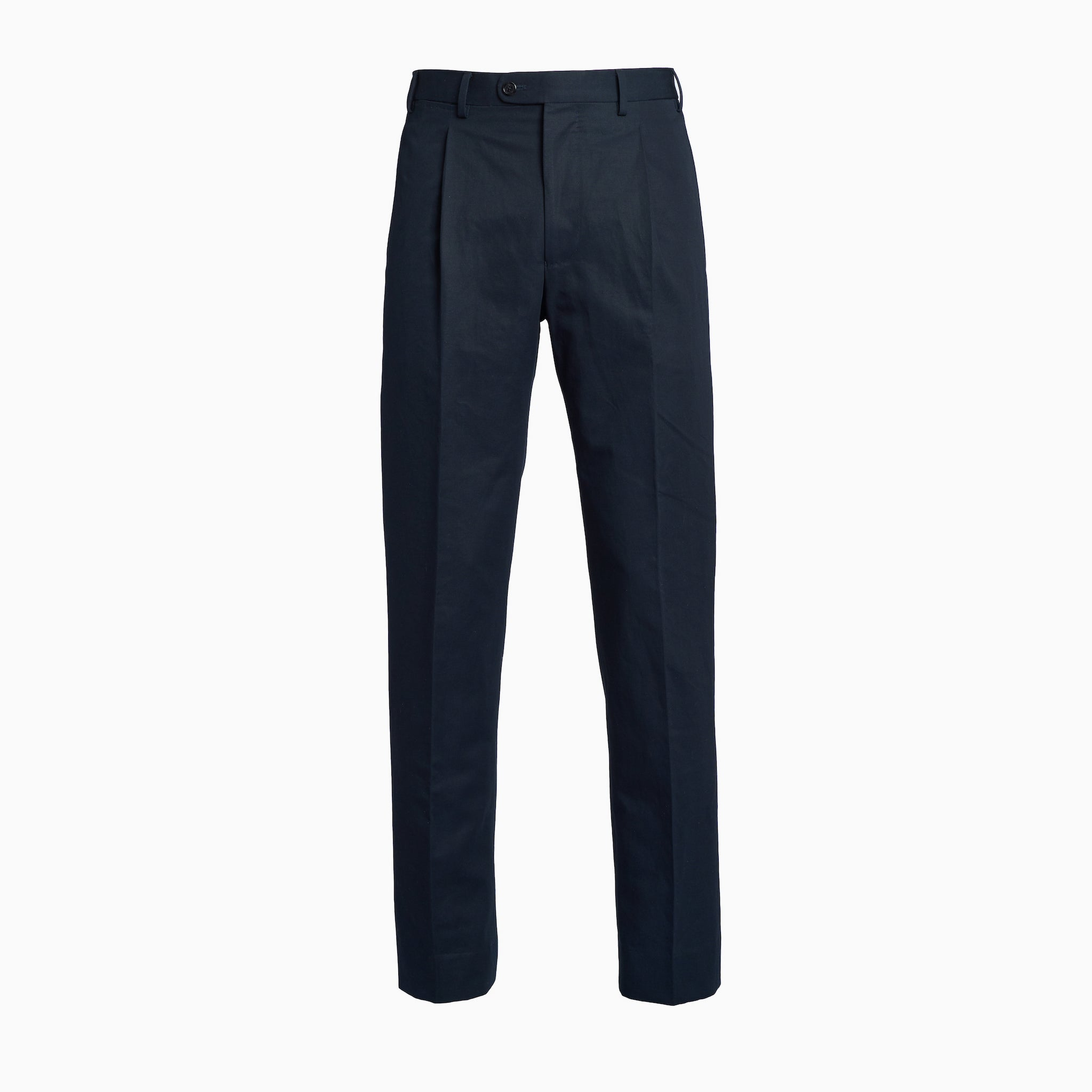 Navy Cotton Linen Trousers w/ Single Pleat