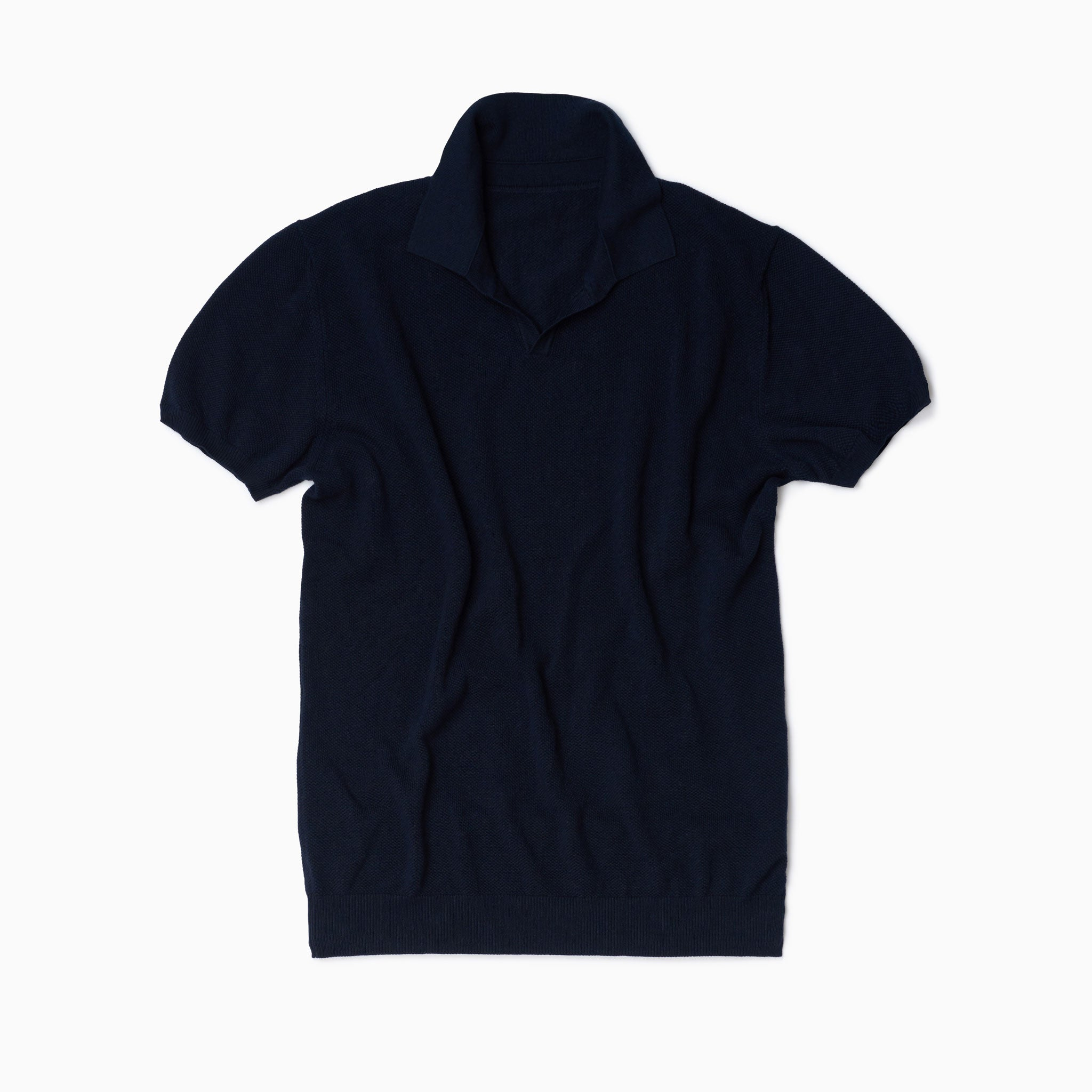 Navy Cotton Honeycomb Short Sleeve Polo