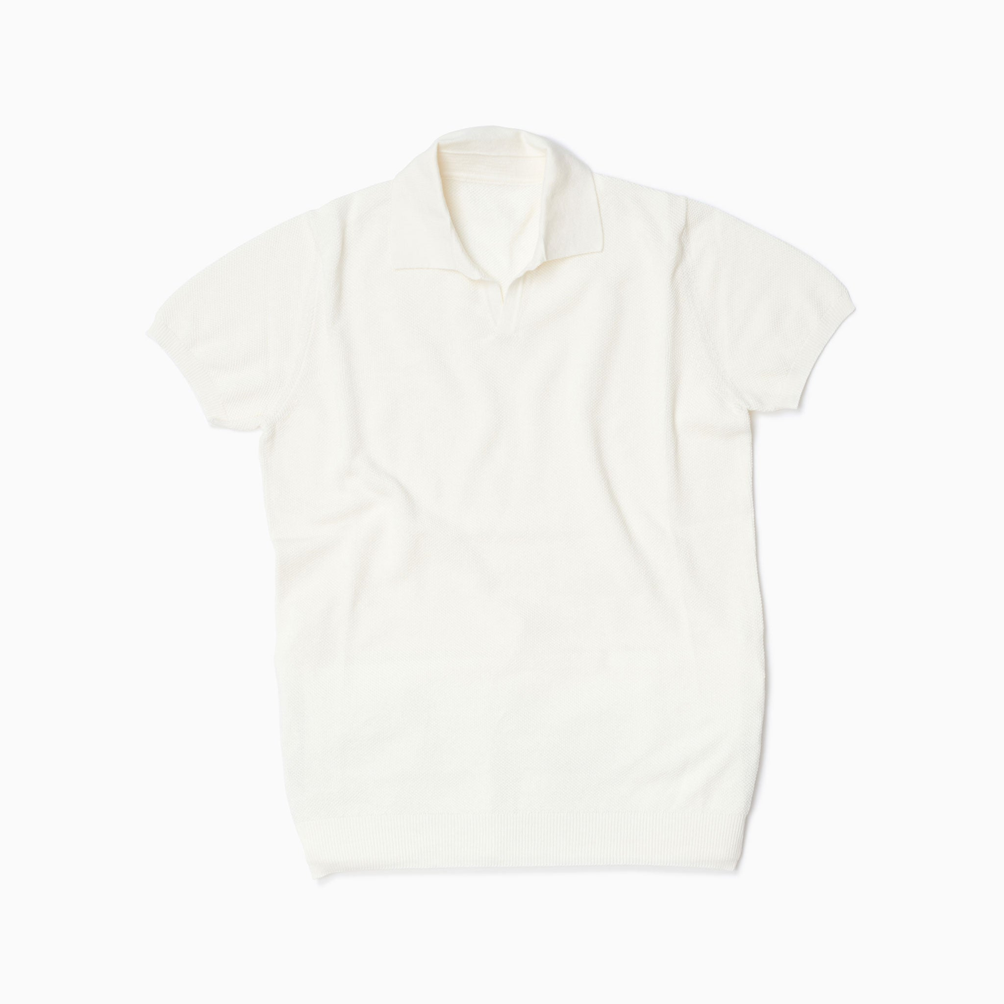 Off White Cotton Honeycomb Short Sleeve Polo