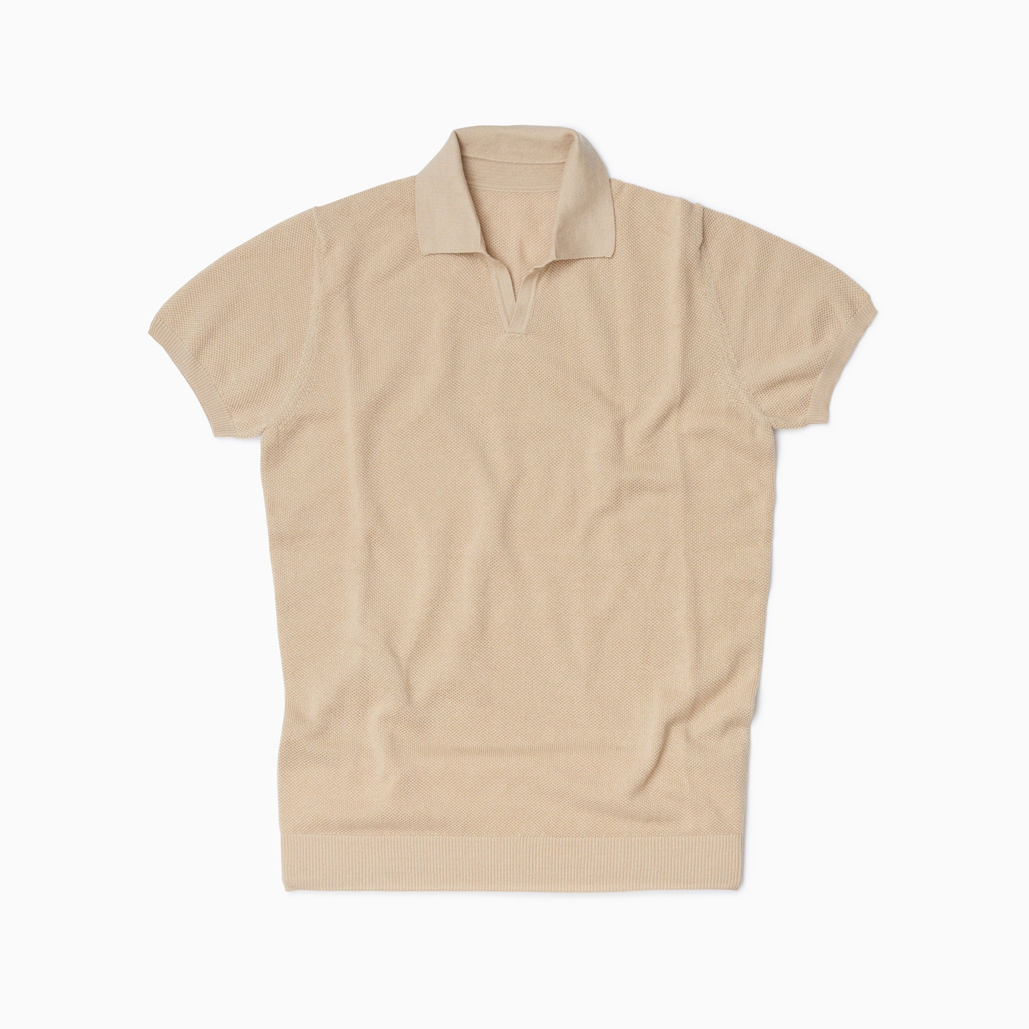 Beige Cotton Honeycomb Short Sleeve Polo